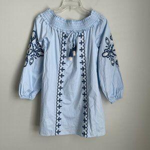 New Loveriche Blue Embroidered Mini Dress